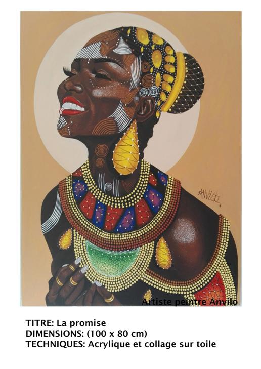 """Son art est réaliste presque trop même et son doigté est magique. ''Ses femmes"""" à lui sont africaines et belles. Lui c'est Anvilo AAo et il a la femme au bout des doigts."""